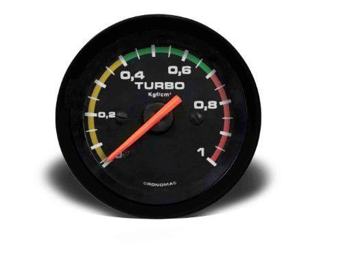 Manometro Turbo 52mm Mecânico 1kg - Street Preto C Faixa