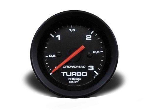 Manometro Turbo 52mm Mecânico 3kg - Street Preto