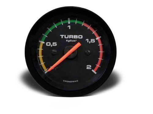 Manometro Turbo 60mm Mecânico 2kg - Street Preto C Faixa