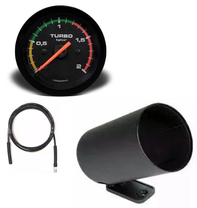 Kit Manometro Relógio Pressão Turbo 2kg Racing C/ Kit Instalação - Troller T4