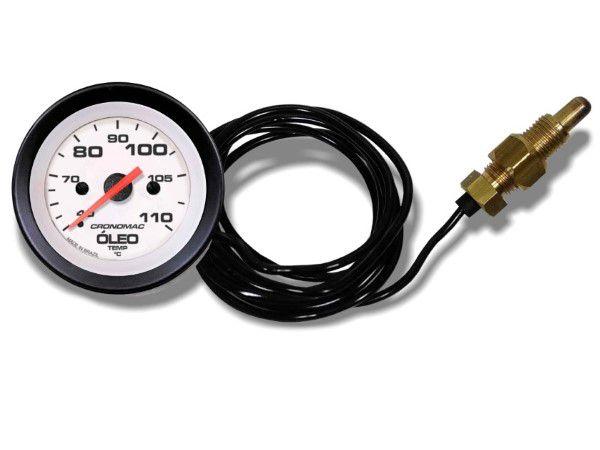 Termômetro Mecânico 60mm Óleo 5 metros - Street Branco