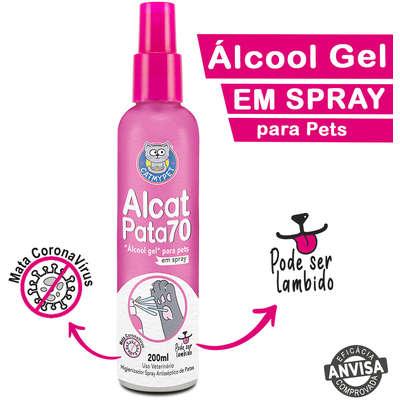 Álcool Gel Alcat Pata70 em Spray para Pets