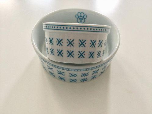 Comedouro Porcelana P Geométrico Azul