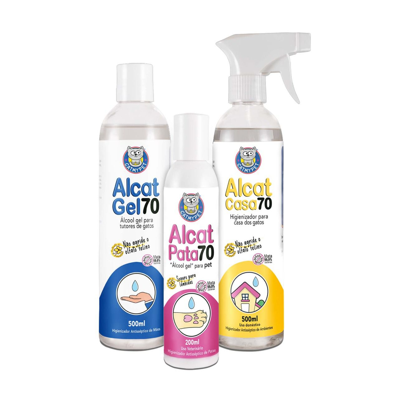 Kit Alcat 70 - Álcool gel para pet (Alcat Pata 70) + Alcool gel (Alcat Gel 70) + Higienizador para Casa (Alcat Casa 70)