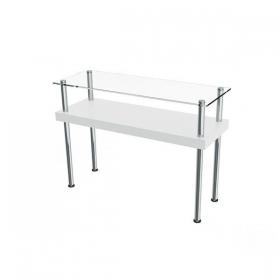 Aparador Comac modelo U Round com Tampo de vidro e prateleira em MDF e estrutura em alumínio