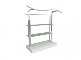 Balcão para exposição 4 niveis com vidro e cabideiro onda 136x130x50 cm Comac