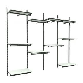 Conjunto Cremalheira Comac 4 Estantes 10 Prateleiras Para Closet ou Loja 245x200 cm
