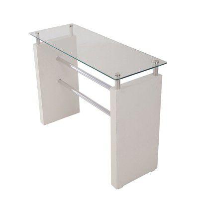 Aparador Comac modelo U com tampo de vidro travessa de alumínio e MDF