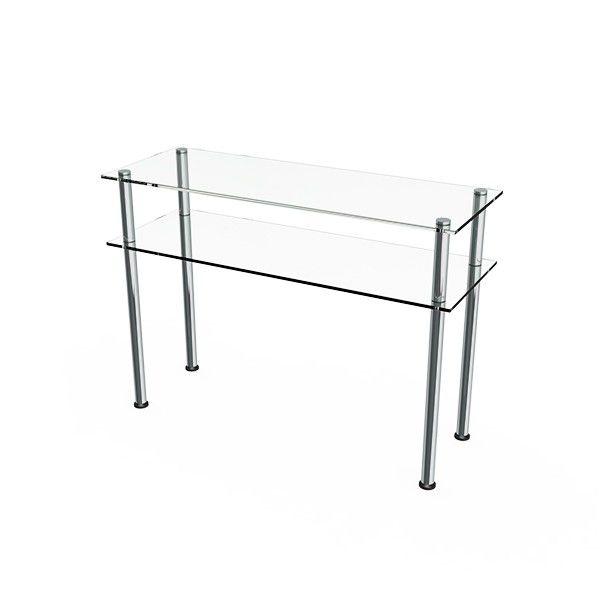 Aparador Comac modelo U Round com tampo e prateleira em vidro e estrutura em alumínio