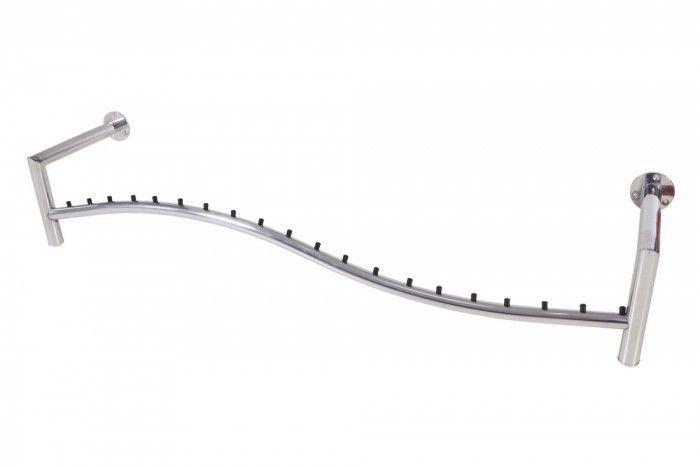 Arara de parede Comac modelo Onda L tamanho 120 cm em aluminio