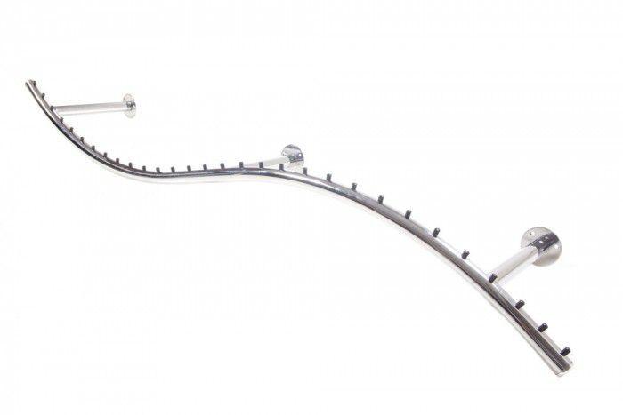 Arara de parede Comac modelo Onda tamanho 165 cm cromado