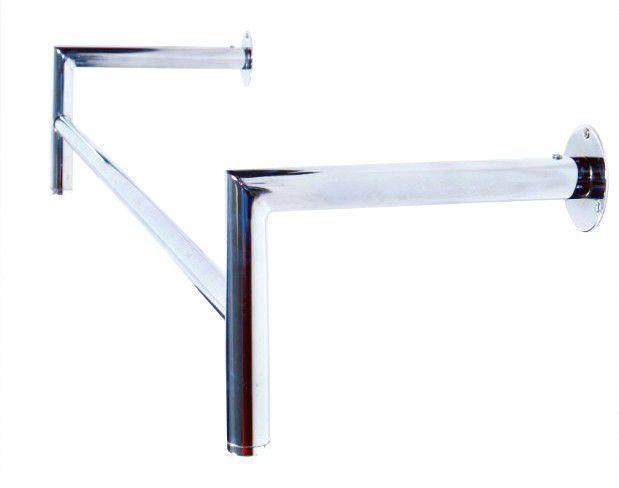 Arara de parede Comac modelo Reta L tamanho 120 cm em alumínio