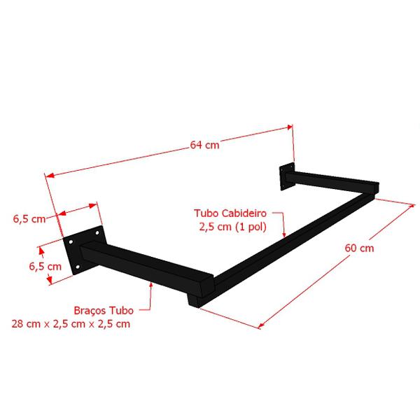 Arara Parede Quadrada Leve  60 cm