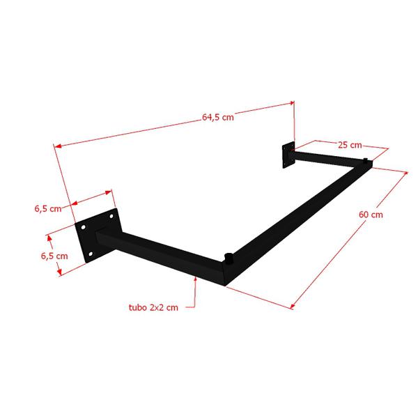Arara Parede Quadrada Simples Leve 60 cm