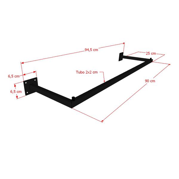 Arara Parede Quadrada Simples Leve 90 cm