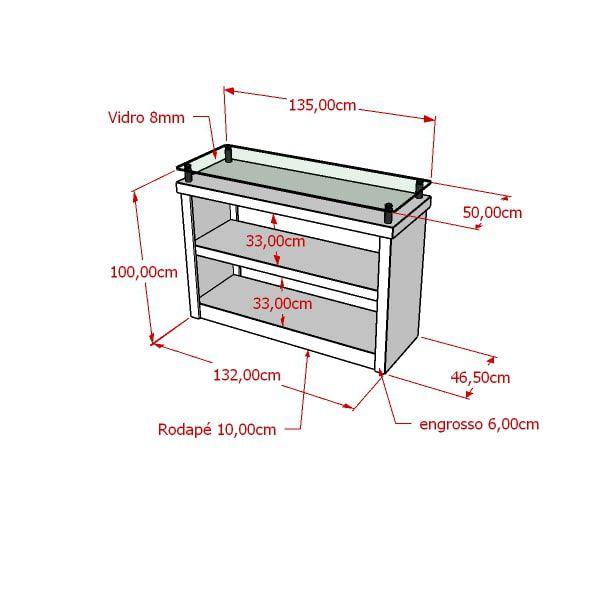 Balcão Com Tampo De Vidro e Prateleira 100% MDF 135x100x50 cm Comac