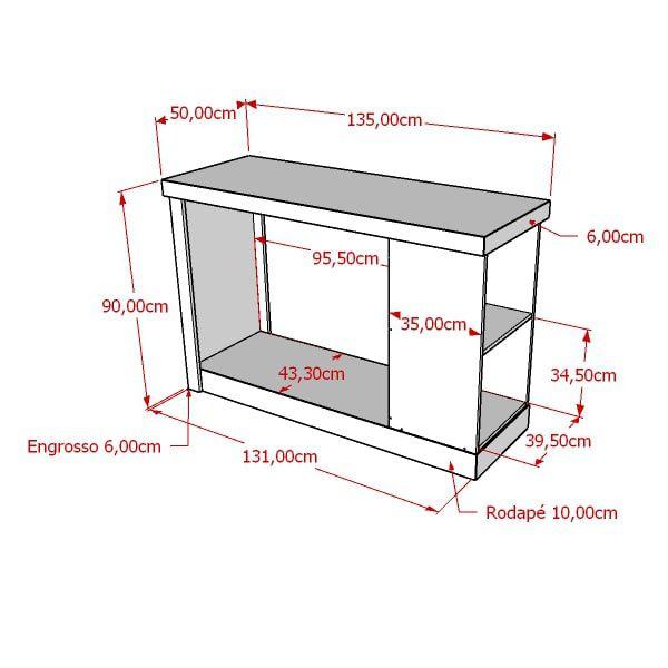 Balcão 100% MDF encaixe pilar com cabideiro 135x90x50 cm Comac