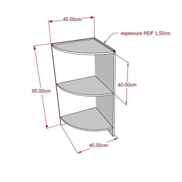 Balcão 100% MDF modelo de canto para acabamento 45x95x45 cm Comac