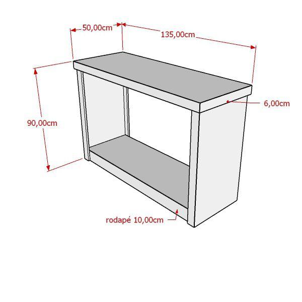 Balcão 100% MDF modelo encaixe com cabideiro135x90x50 cm Comac
