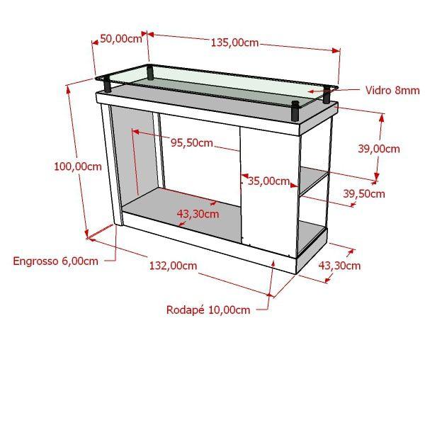 Balcão Com Tampo De Vidro E Cabideiro MDF Modelo Encaixe Pilar 135x100x50 cm Comac