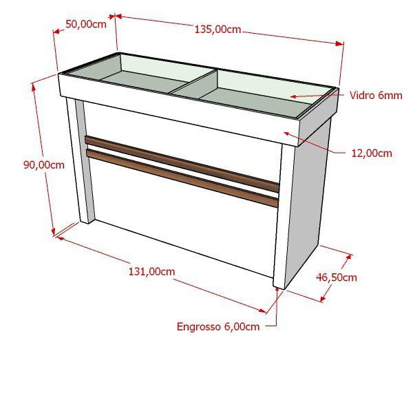 Balcão 100% MDF modelo expositor Poli 135x90x50 cm Comac
