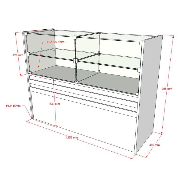 Balcão de Atendimento MDF com Prateleiras de Vidro Comac 125x95x45cm