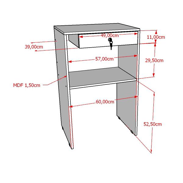 Balcão caixa 100% MDF modelo light 60x95x45 cm Comac