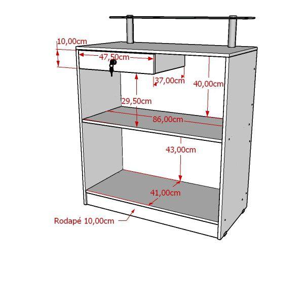 Balcão caixa 100% MDF modelo New 89x111x45 cm Comac