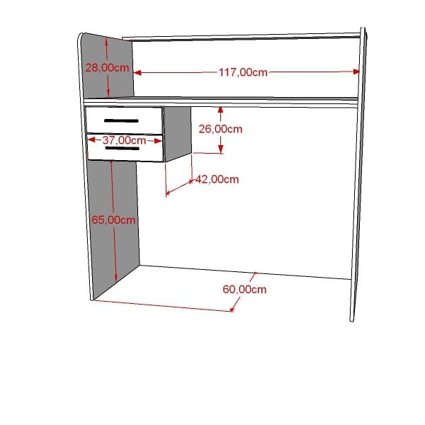 Balcão Caixa Com Gaveta 100% MDF 120x120x60 cm Pacote Comac