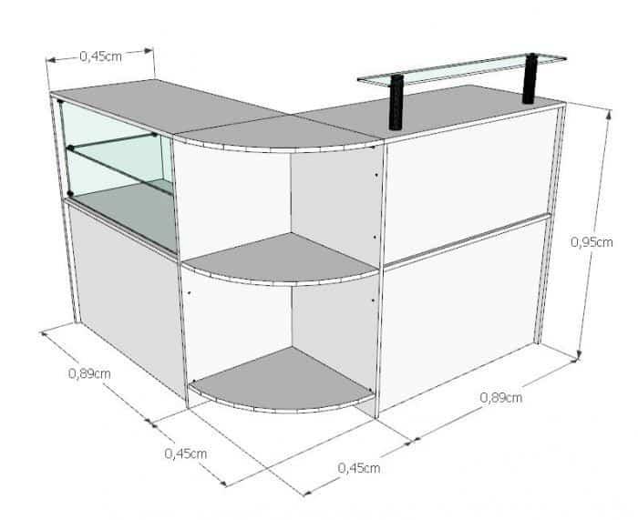 Balcão Caixa MDF Em L Com Prateleira De Vidro Modelo New 134+134 x 95 x 45cm Comac