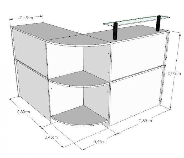 Balcão Caixa Em L 100% MDF Modelo New 134+134x95x45 cm Comac