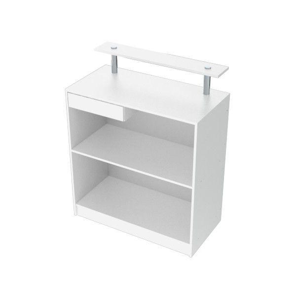 Balcão Caixa Para Loja 100% MDF modelo New 89x111x45 cm Branco Comac