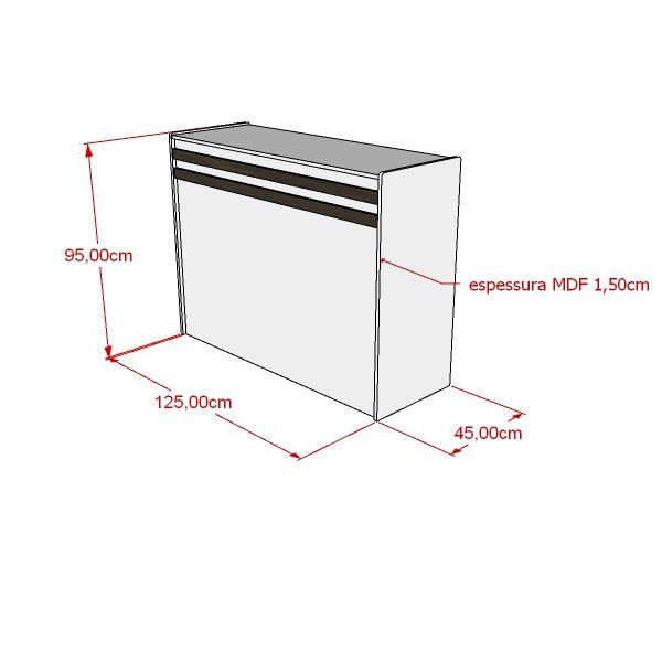 Balcão de atendimento 100% MDF 125x95x45 cm Comac
