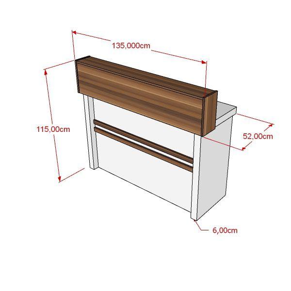 Balcão de Caixa 100% MDF Modelo Poli 135x115x52 cm Comac