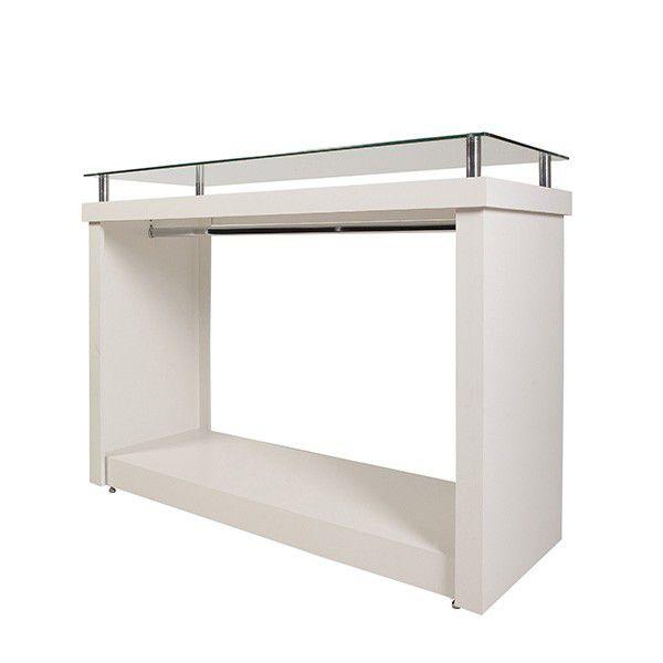 Balcão 100% MDF Com Cabideiro e Vidro 135x100x50cm