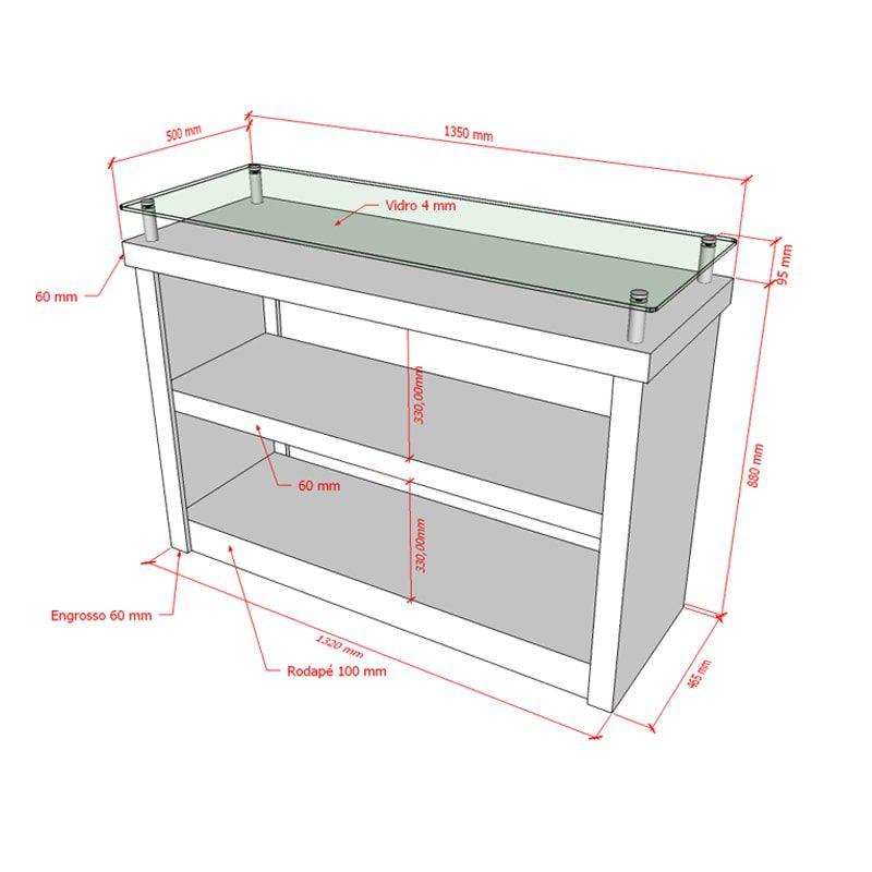Balcão 100% MDF modelo encaixe com prateleira e vidro135x100x50 cm Comac