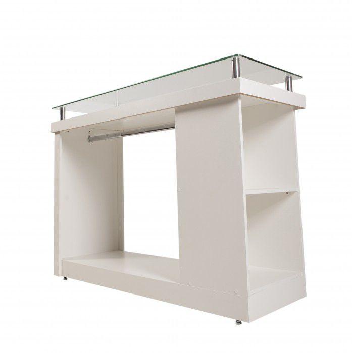 Balcão 100% MDF modelo encaixe pilar com cabideiro com vidro 135x100x50 cm Comac