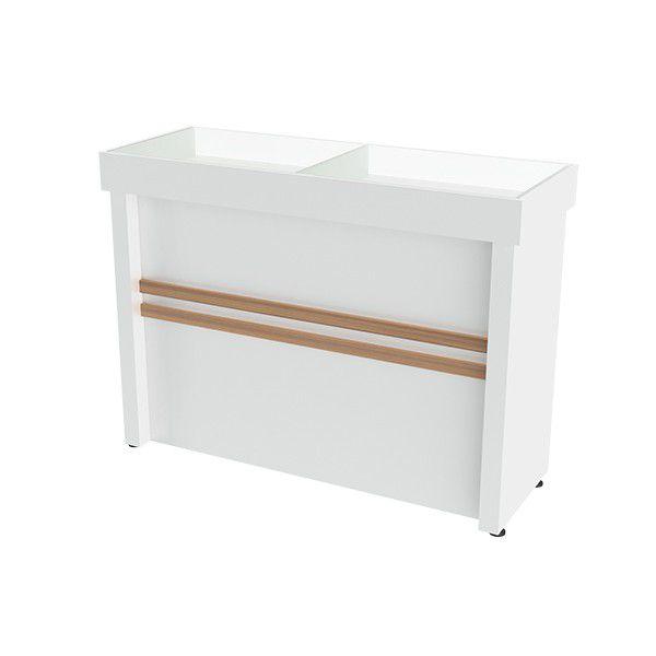 Balcão Expositor Para Loja Tampo De Vidro MDF Modelo Poli 135x90x50 cm Comac