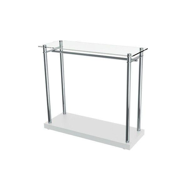 Balcão expositor Round Comac com tampo em vidro com base em MDF + arara e estrutura em alumínio
