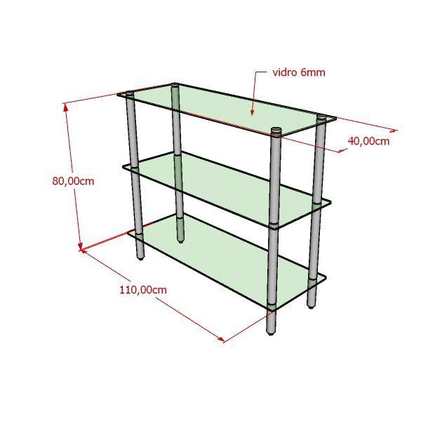 Balcão modelo 3 níveis redondo 110x100x40 cm com prateleira de vidro e em alumínio Comac