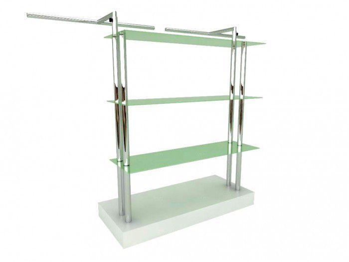 Balcão para exposição 4 niveis com vidro e cabideiro duplo 170x130x50 cm Comac
