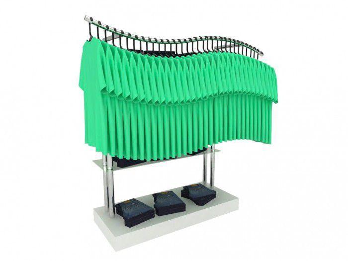 Balcão para exposição 4 níveis em MDF e cabideiro modelo onda 136x134x50cm Comac