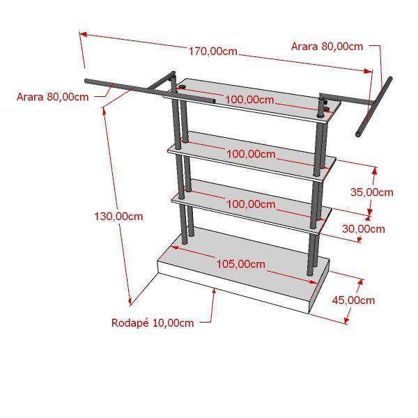Balcão para exposição 4 niveis em MDF com cabideiro duplo 170x130x50 cm Comac