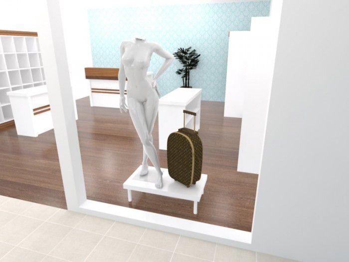 Base para vitrine Comac modelo quadrado tamanho 90 x 15 x 50 cm
