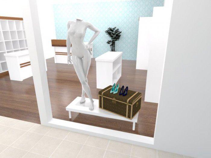 Base para vitrine Comac modelo retangular tamanho 135 x 25 x 50 cm