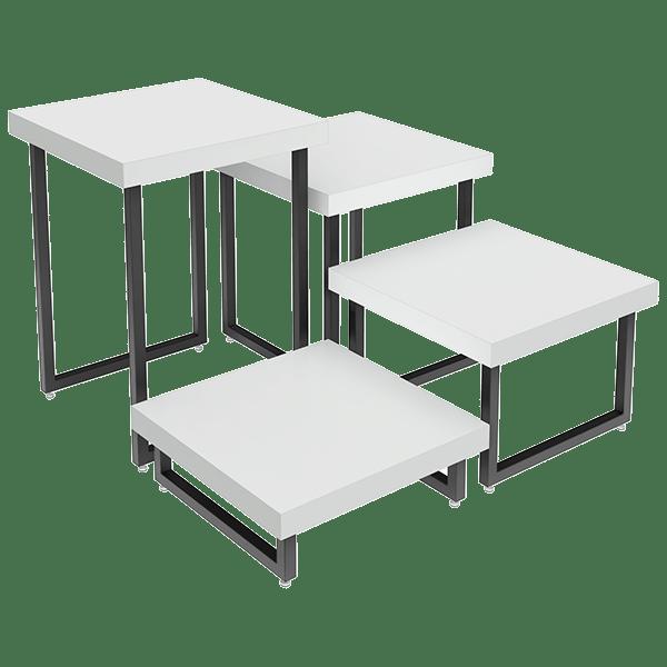 Conjunto com 4 Mesas para Exposição Comac