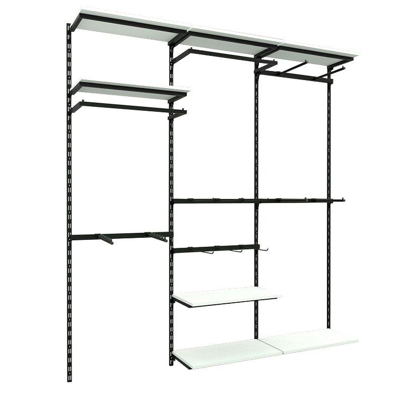 Conjunto Comac 3 estantes cremalheira com acessórios tamanho 186 cm x 200 cm (tipo Closet)