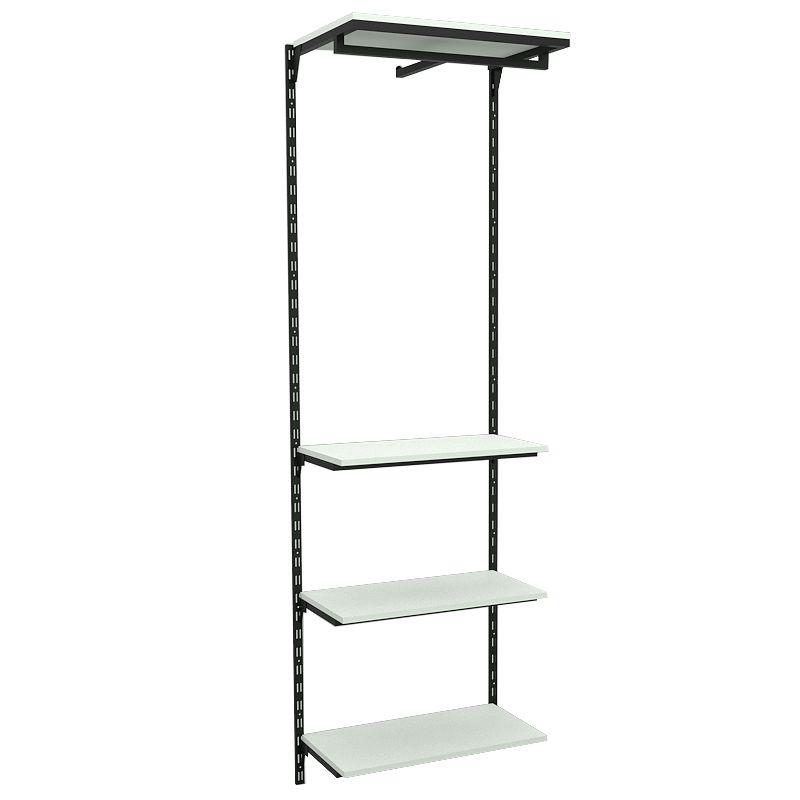 Conjunto Comac com 01 estantes cremalheira com 04 prateleiras e 01 cabideiro tamanho 64 cm x 200 cm