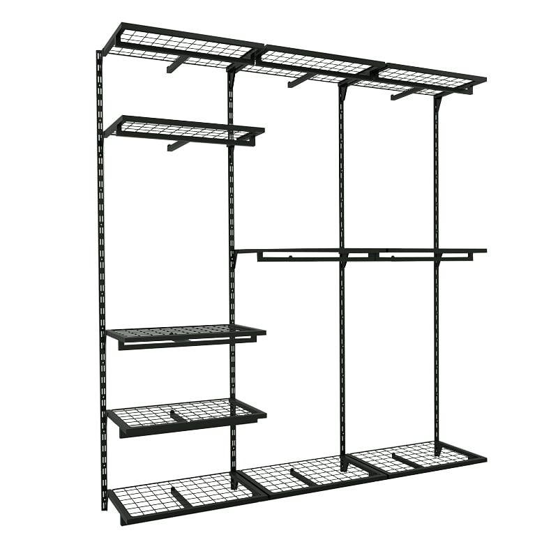 Conjunto Comac com 3 estantes cremalheira e 11 prateleiras tamanho 185 cm x 200 cm (tipo Closet)