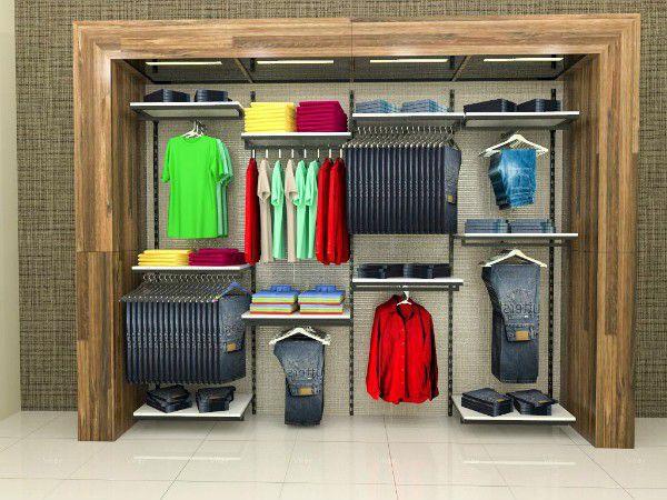 Conjunto Comac com 4 estantes cremalheira e 10 prateleiras tamanho 245 cm x 200 cm (tipo Closet)